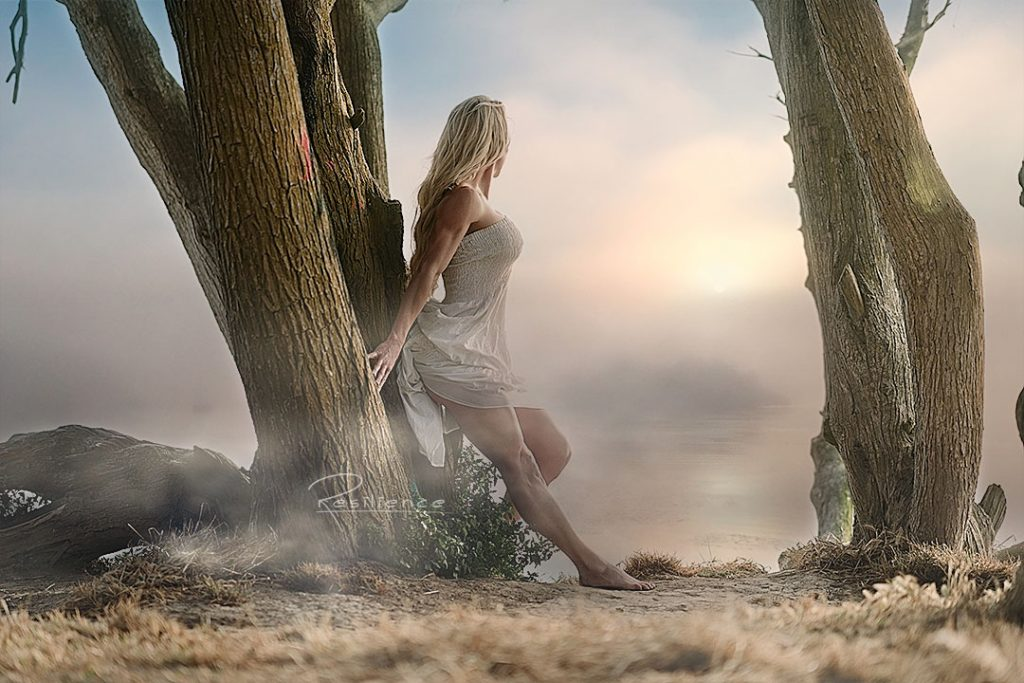 Barefeet-woman-in-white-dress-in-the-fog