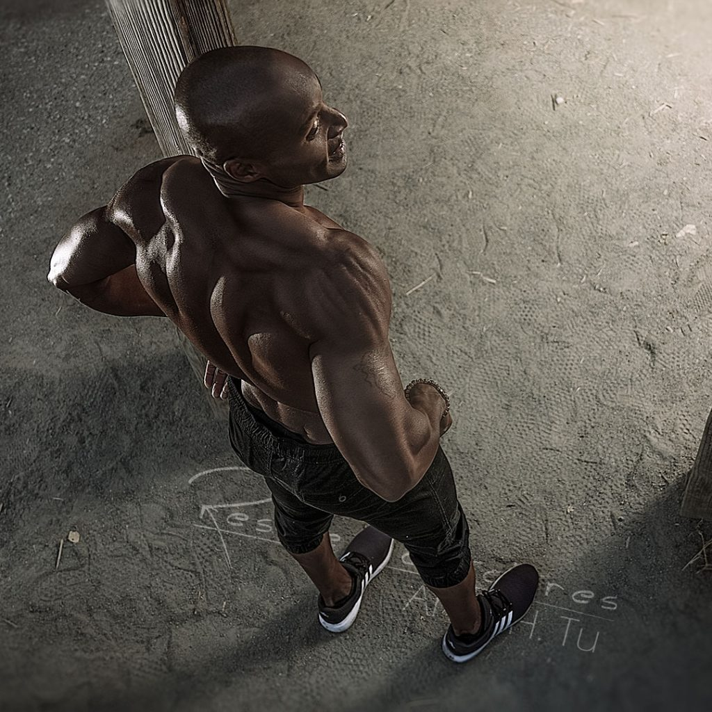 Top View of athlete, thinking