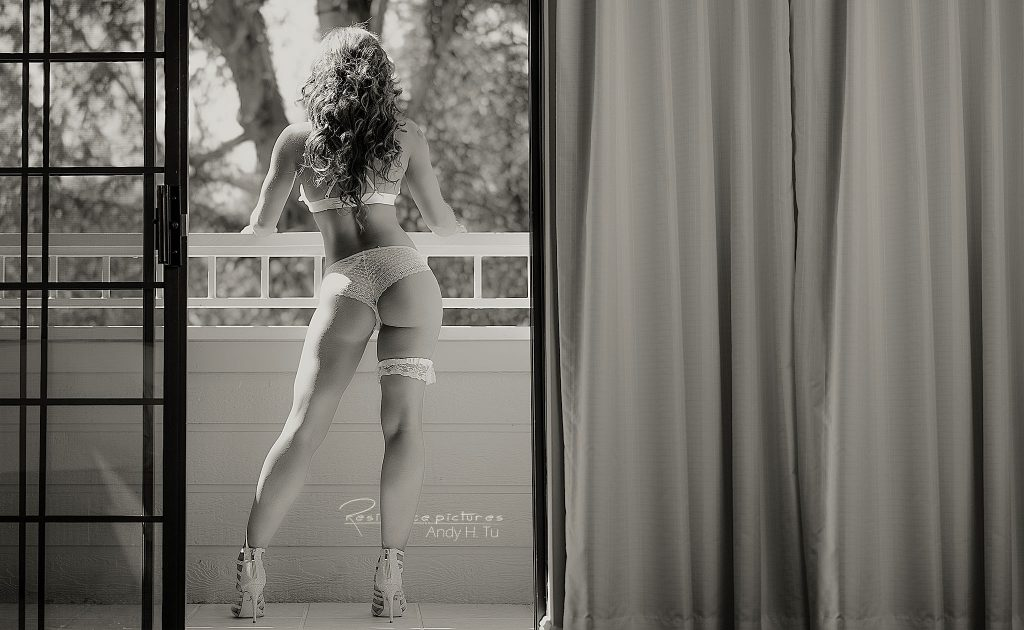 Bridal Boudoir stepping outside the balcony