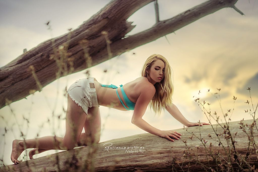 Model Crawling on a tree at sunset