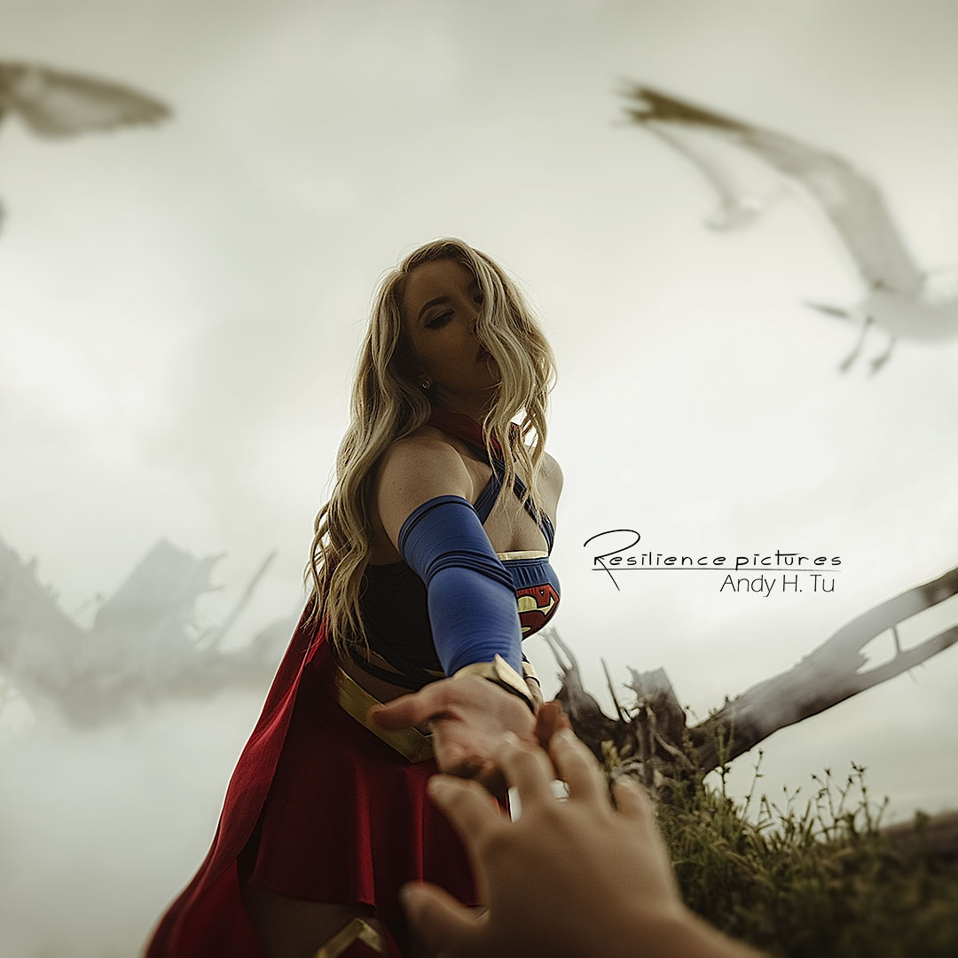 Supergirl cosplay photo shoot, lending a hand square photo