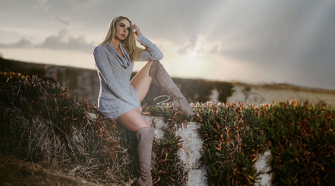 Portrait of a beautiful blonde in sunset
