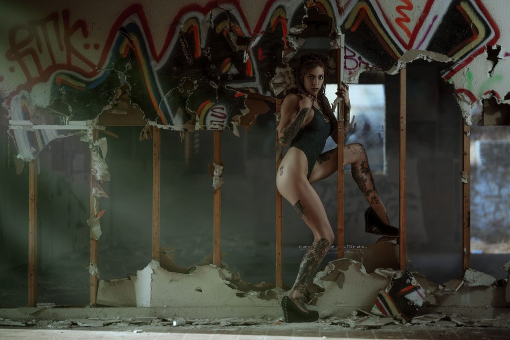tattoo model and the walking dead in an abandoned area