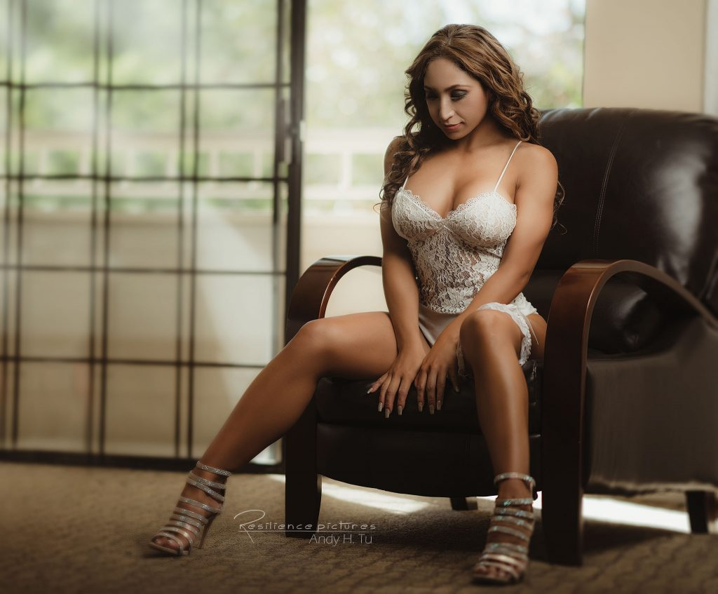 latina bridal boudoir in white lingerie
